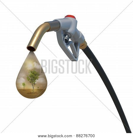 Nature inside of a drop weeping from fuel nozzle