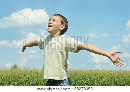 Happy Boy in field