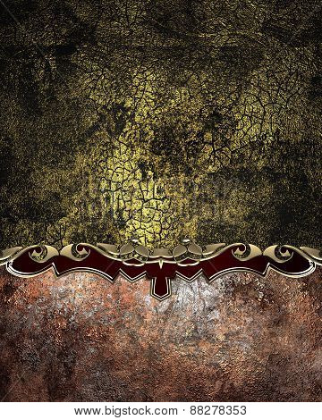 Element For Design. Template For Design. Black And Gold Cracked Background With Grunge Nameplate