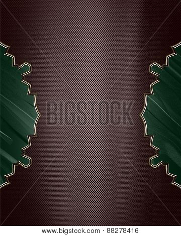Element For Design. Template For Design. Brown Pattern With Green Cuts