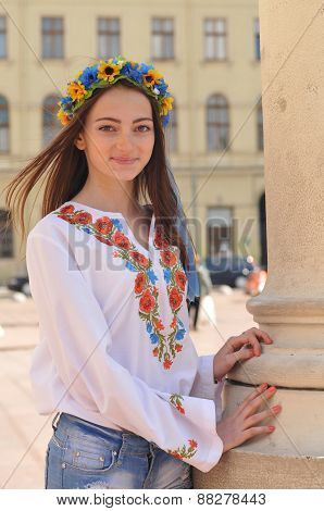 Pretty Ukrainian Girl In Lviv Street