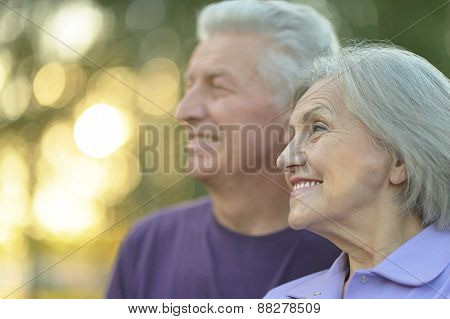 Elderly couple smilling