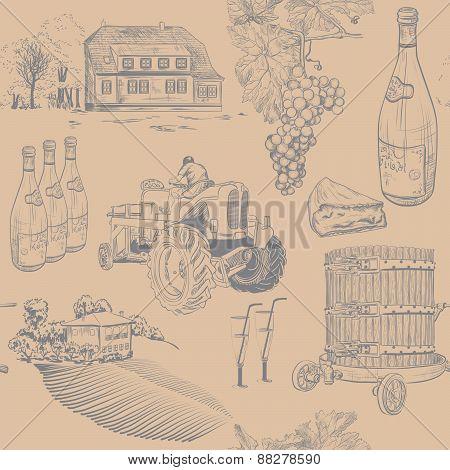 Seamless retro pattern of wine making