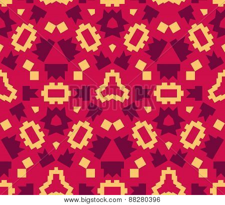 Red Orange Color Abstract Geometric Seamless Pattern.