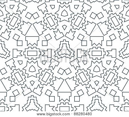 Dark Monochrome Color Angular Outline Abstract Geometric Seamless Pattern.