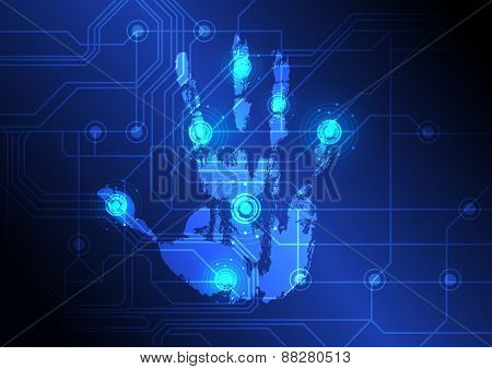 technology concept Hand With Scanner