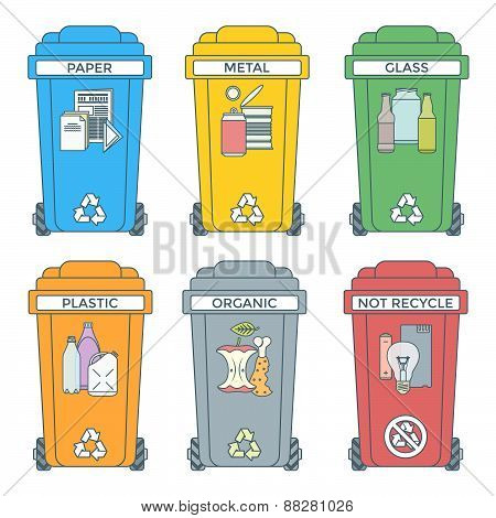 Colored Outline Separated Garbage Bins Icons Labels .
