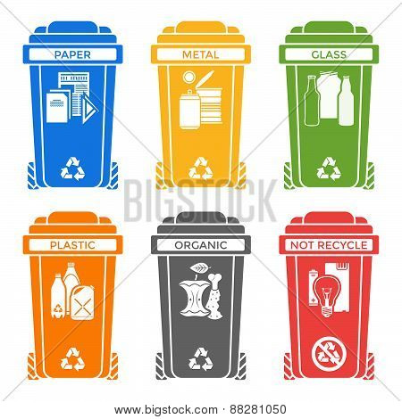 Various Colors Separated Garbage Bins Solid Icons Labels .