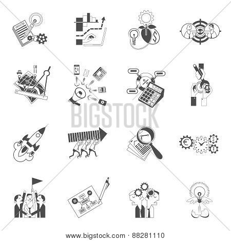 Business teamwork concept black icons set