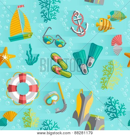 Summer tropical vacation seamless pattern