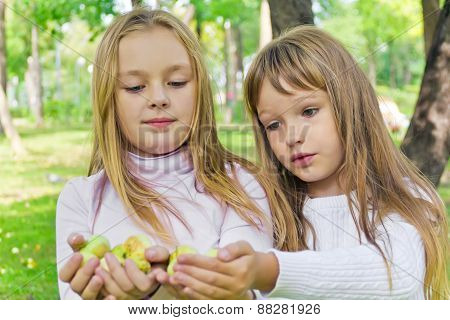 Cute Girls With Apples