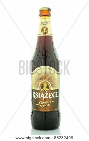 Ksiazece dark beer isolated on white background