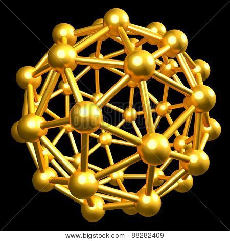 3D Collection Of Gold Objects. Atomic Molecule Isolated On Black Background. High Resolution