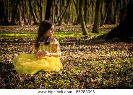 Girl In Yellow Princess Dress