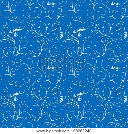 Seamless pattern with thin stems and flowers, white on blue
