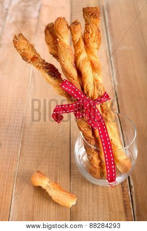 Twisted sesame sticks