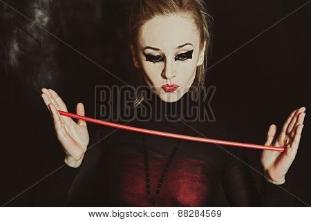 Beautiful Young Woman With Bright Gothic Makeup Closeup