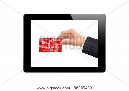 Black Touch Screen Tablet And Hand With Credit Card