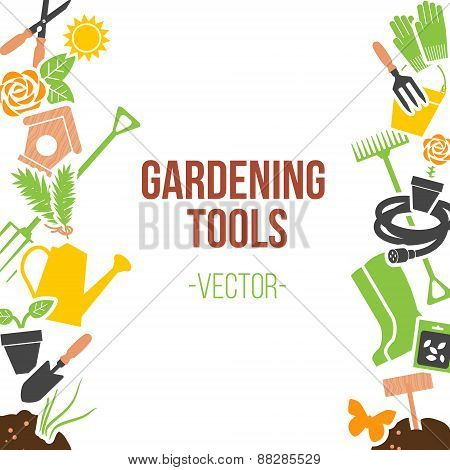 Isolated Spring Gardening Tools Set, Vector Illustration