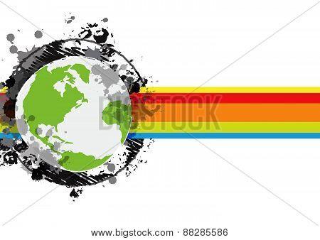 Drawing Sketch Globe Banner Design