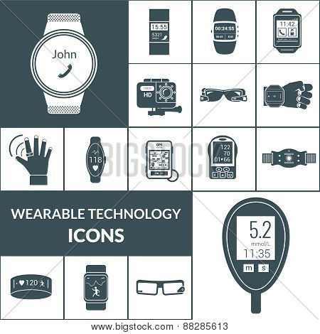 Wearable Technologies Icons Black