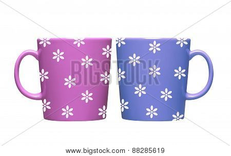 Colorful Tea Cups Isolated On White Background