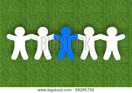 Paper Team White People Over Grass Background