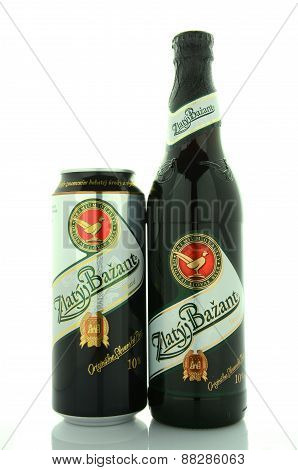 Zlaty Bazant dark beer isolated on white background.
