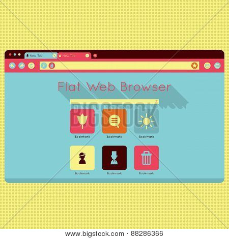 Vector retro vintage web browser interface.