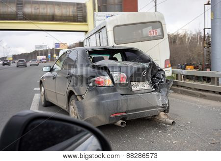 MOSCOW, RUSSIA - APRIL 19: car crash accident on street, damaged automobile after collision in Mosco
