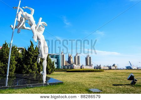 Dalian, China - April 7, 2015 : Sculpture At Xinghai Square.the Square Covers Total Area Of 1.1 Mill