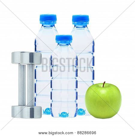 Blue Bottles With Water, Chromed Fitness Dumbbells And Green Apple