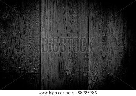Old Black Painted Wood Wall - Texture Or Background