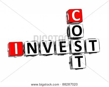 3D Crossword Invest Cost Over White Background.