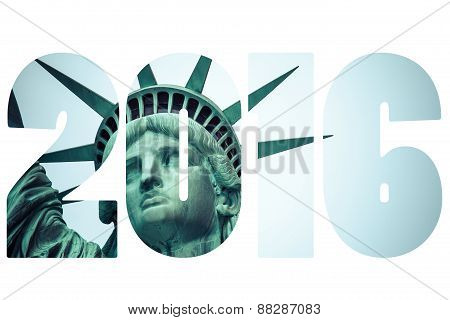 Word Election Vote 2016 Over The Statue Of Liberty At New York City