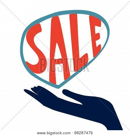 Concept card for sales. hand holding handwritten sale word