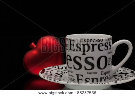 One Empty Coffee Cup And Red Heart