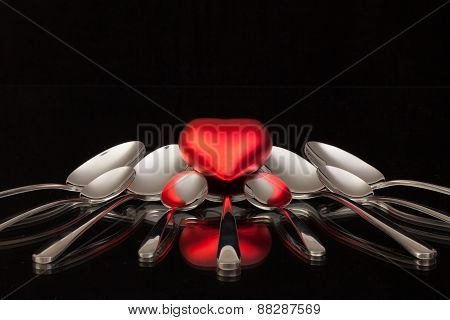 Nine Spoons And Red Heart