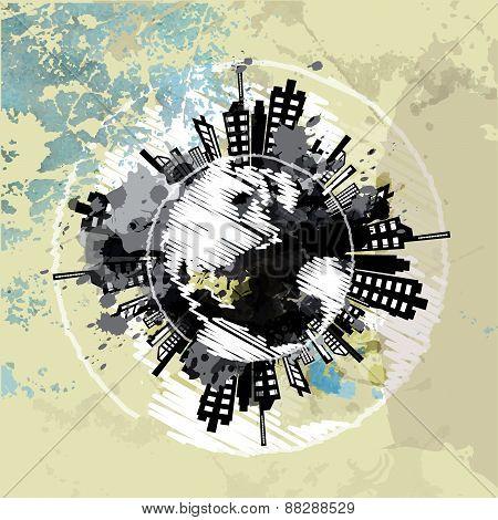 Art Grunge Background With Globe Urban