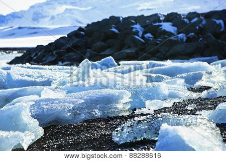Ice Floes At Glacier Lagoon Jokulsarlon