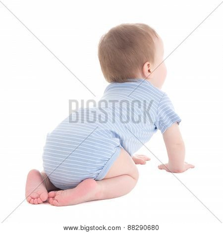 Back View Of Baby Boy Toddler Isolated On White