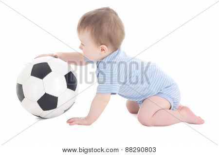 Funny Baby Boy Toddler Playing With Soccer Ball Isolated On White