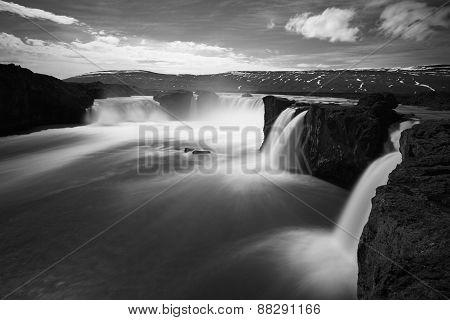 Godafoss Waterfalls - In Iceland, Bw