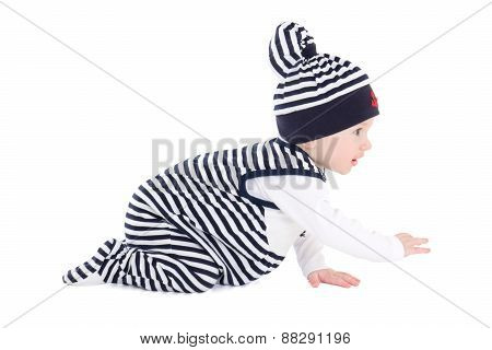 Side View Of Baby Boy Toddler In Sailor Clothes Crawling Isolated On White