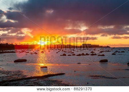 Sunset over Tallinn and the Baltic Sea