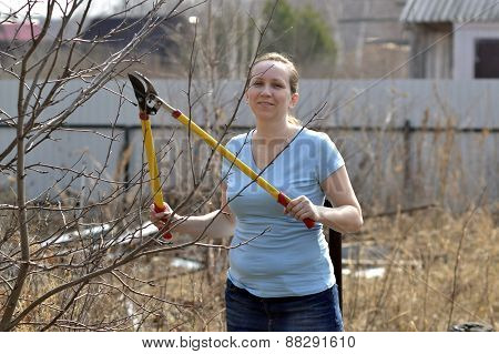 The Woman In A Garden Cuts Off Branches Secateurs With Long Handles In The Spring.