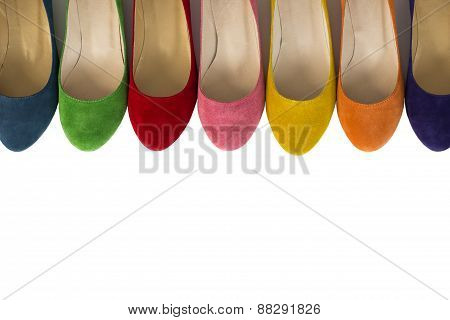 Row Of Colored  Leather Shoes Over White Background