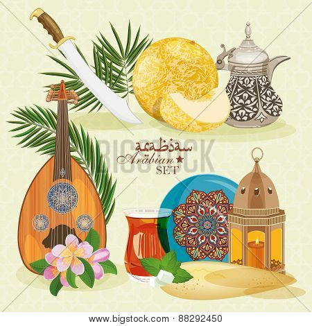 Set of traditional Arabian objects
