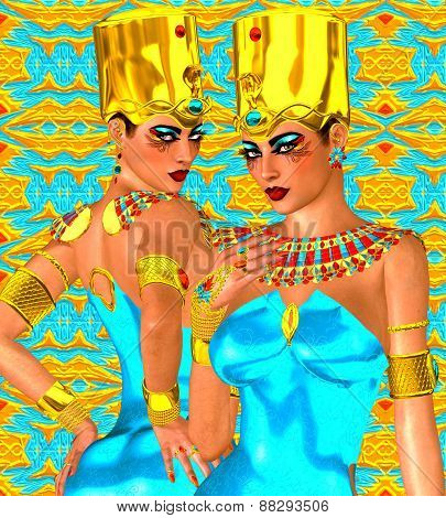 Egyptian twin women in gold and turquoise