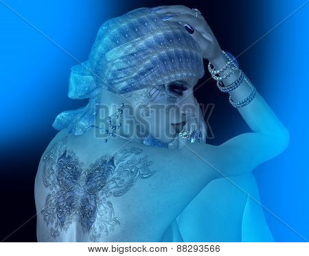A woman with a butterfly tattoo, head scarf, beautiful cosmetics and matching jewelry